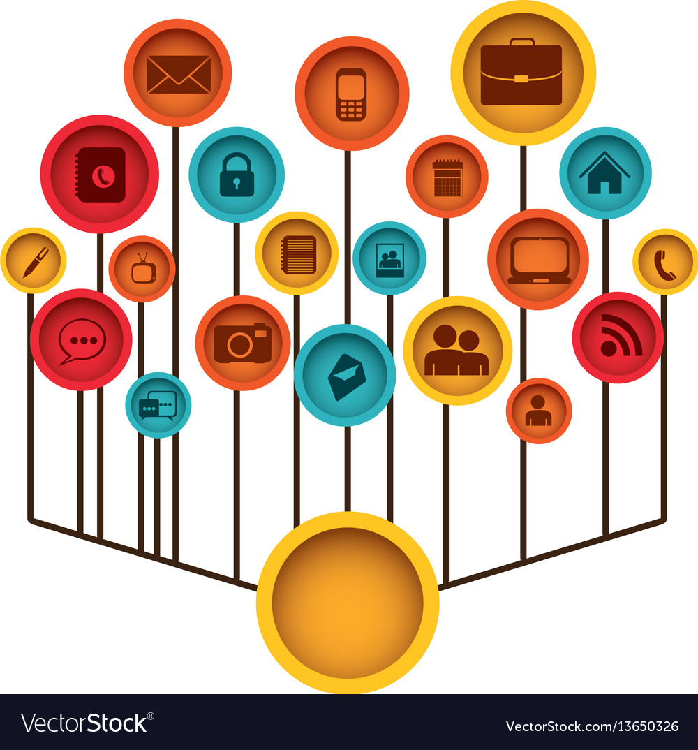 Color tech icons web site Royalty Free Vector Image