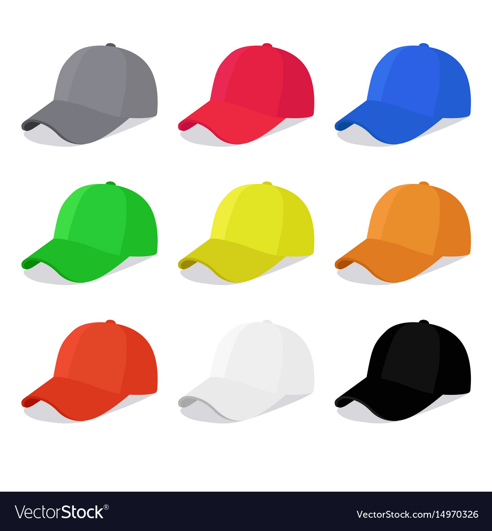 ada876af1f86b Flat caps set with different colors Royalty Free Vector