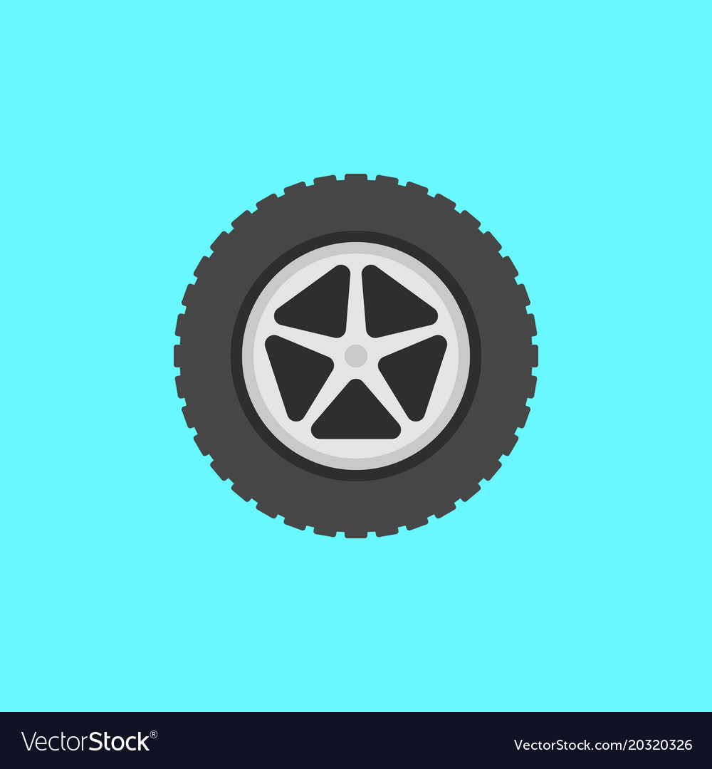 Flat car wheel with tire icon on blue