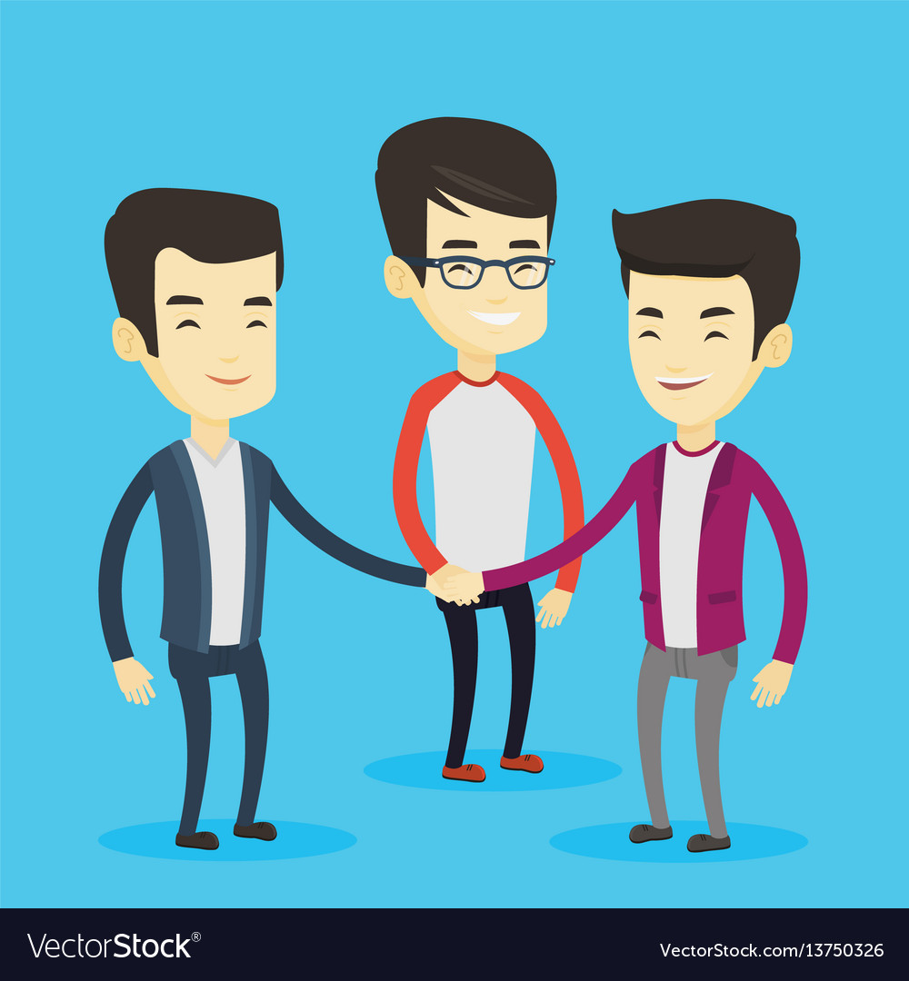 Group of business men joining hands