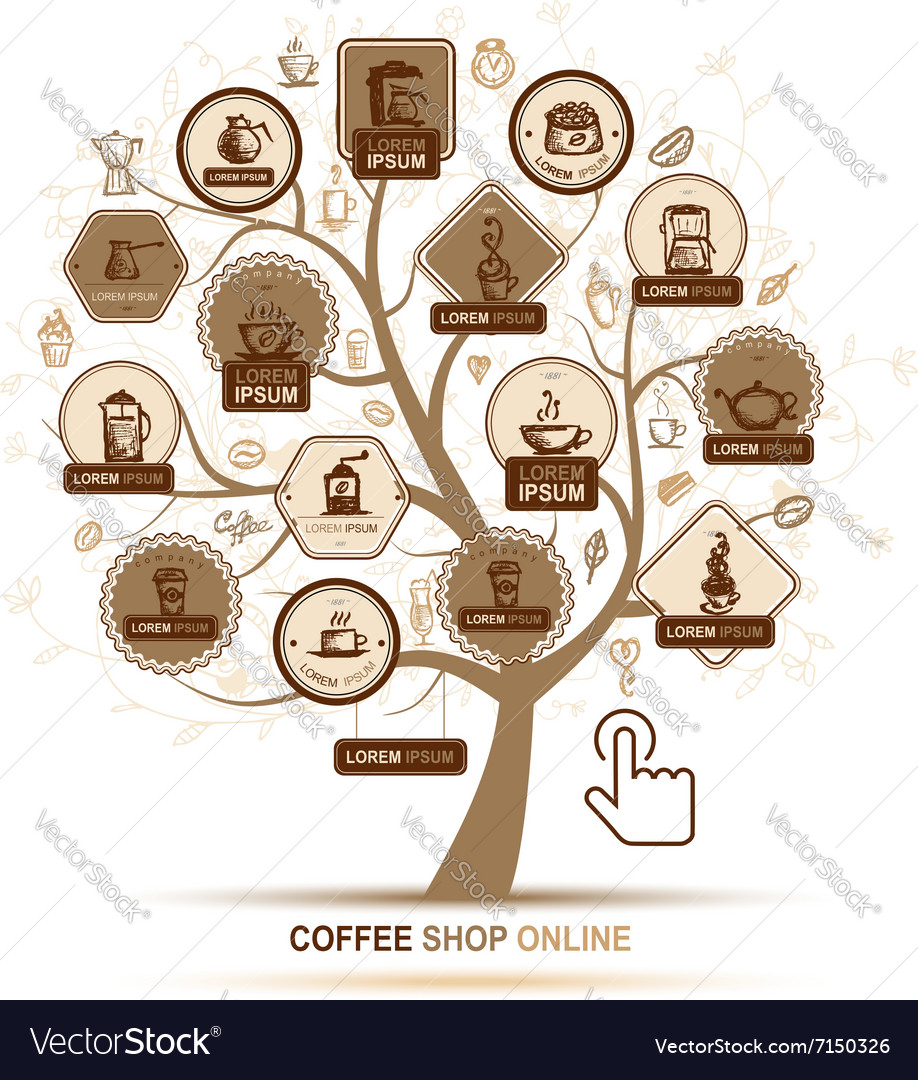Infographic concept - tree with coffee icons for