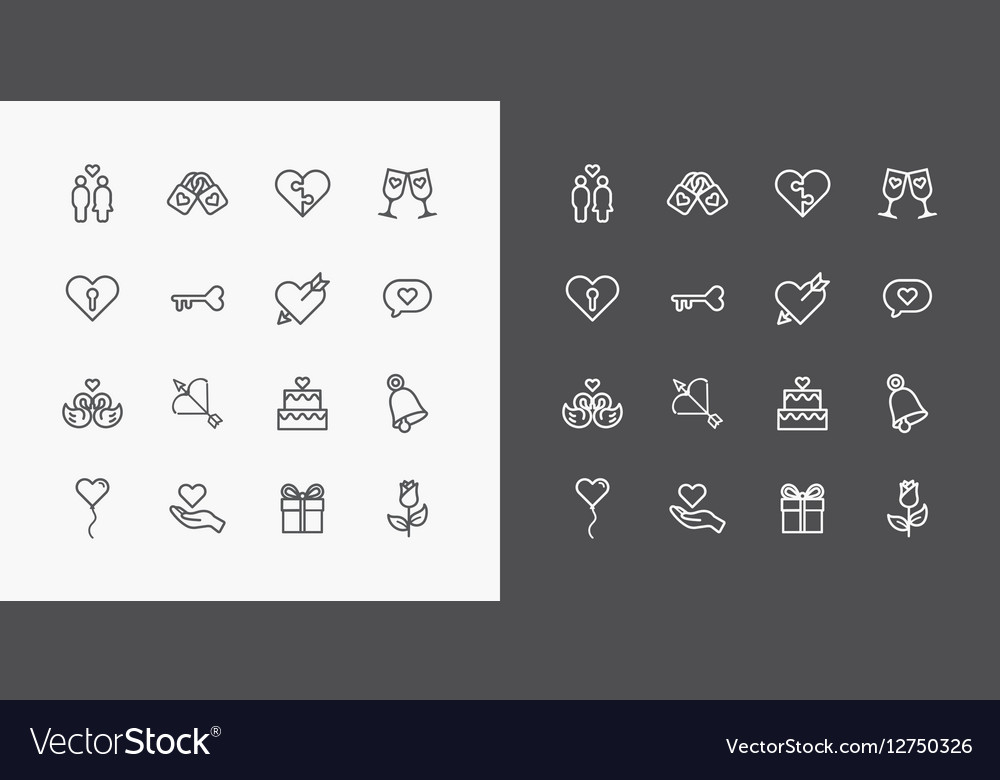 Love and Wedding Icons line Design