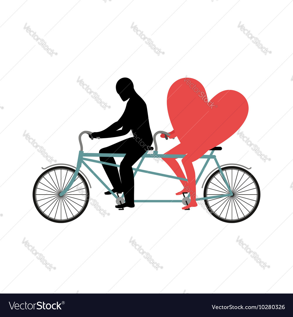 Lovers Of Cycling Man Rolls Heart On Tandem Heart
