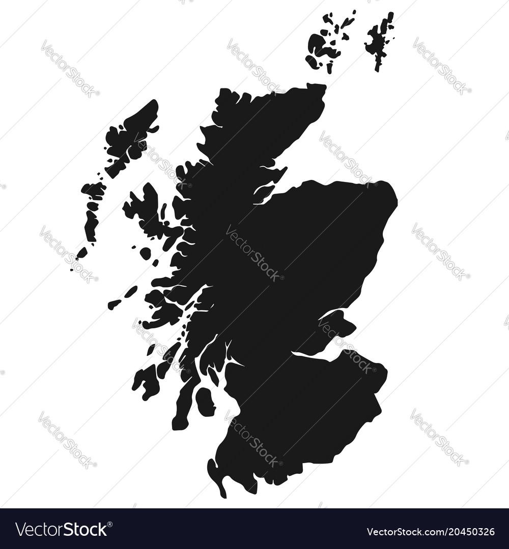 Scotland map simple black white silhouette