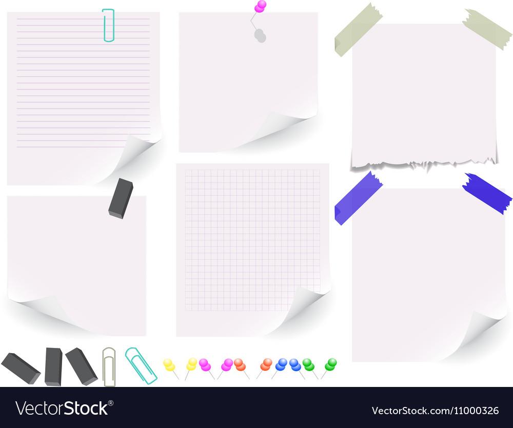Set of white paper on white background