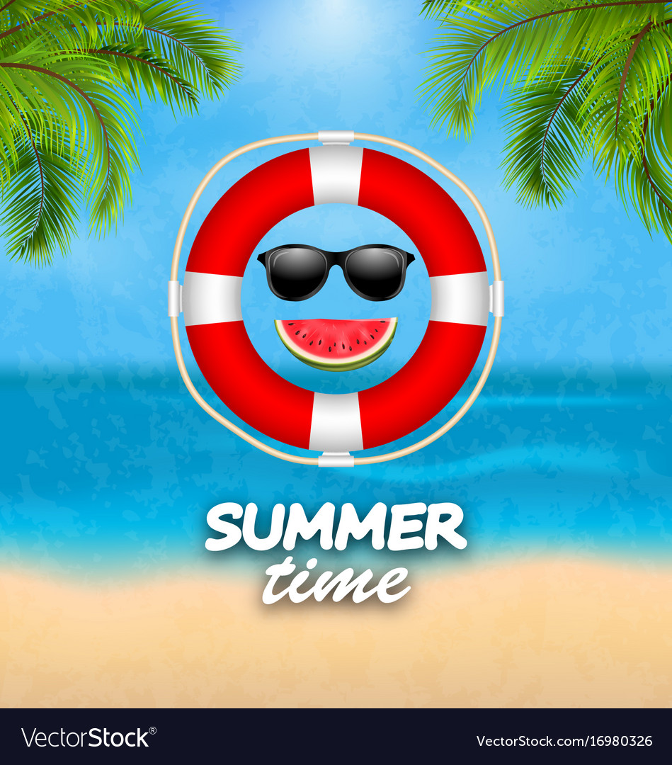 Summer time background with palm leaves lifebuoy