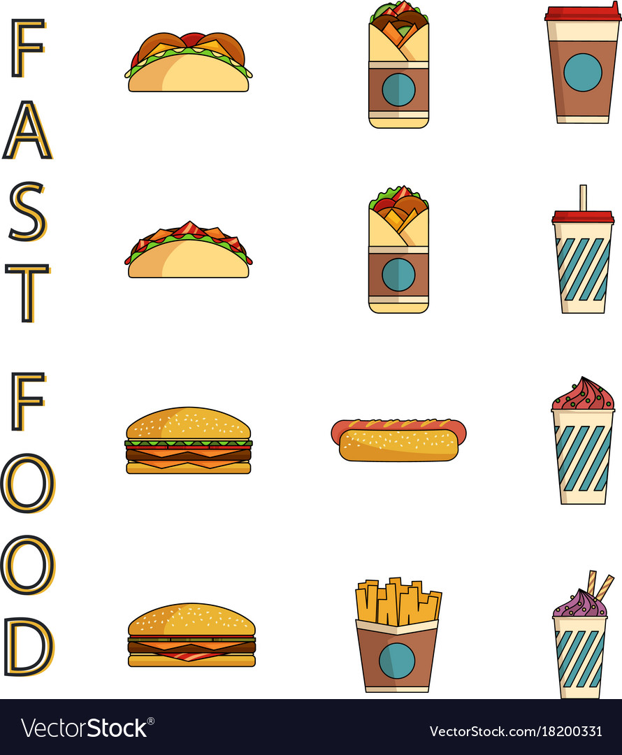 Ast food icons set