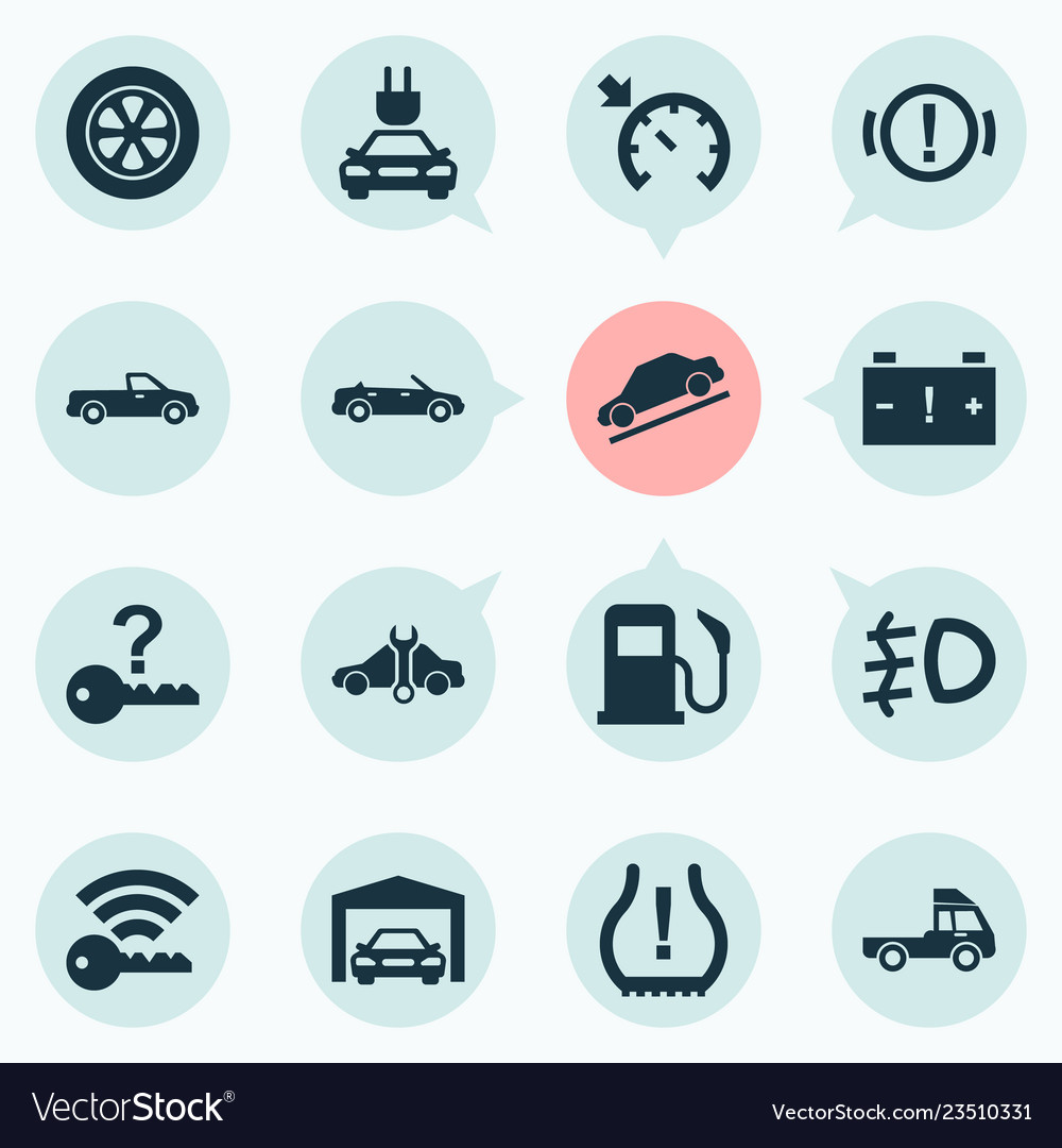 Cruise Control Should Not Be Used >> Automobile Icons Set With Signal Cruise Control