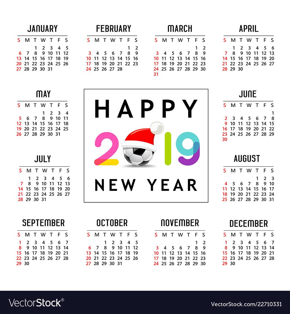 Calendar new year 2019 santa hat on soccer ball