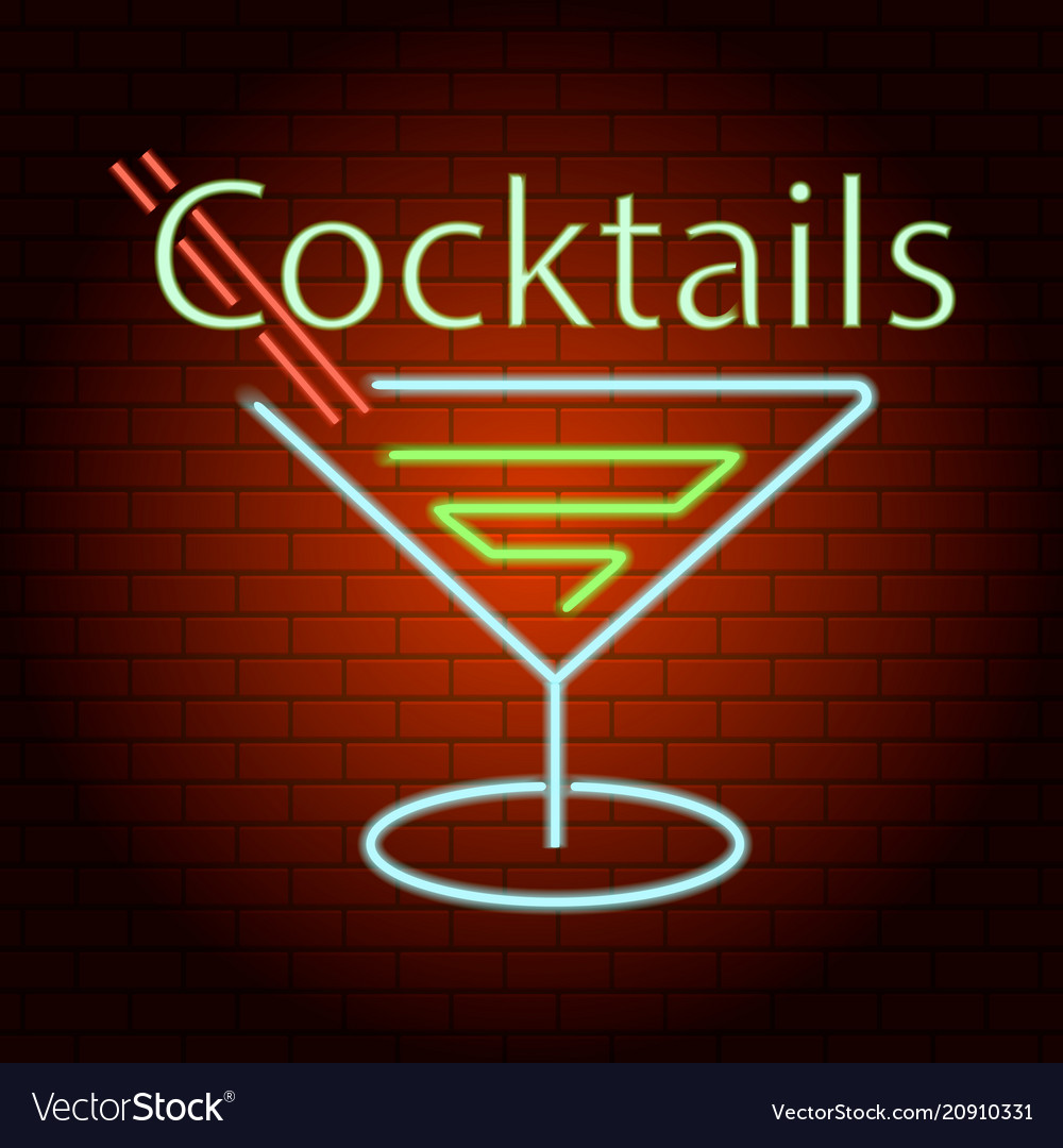 Cocktails logo neon light icon realistic style