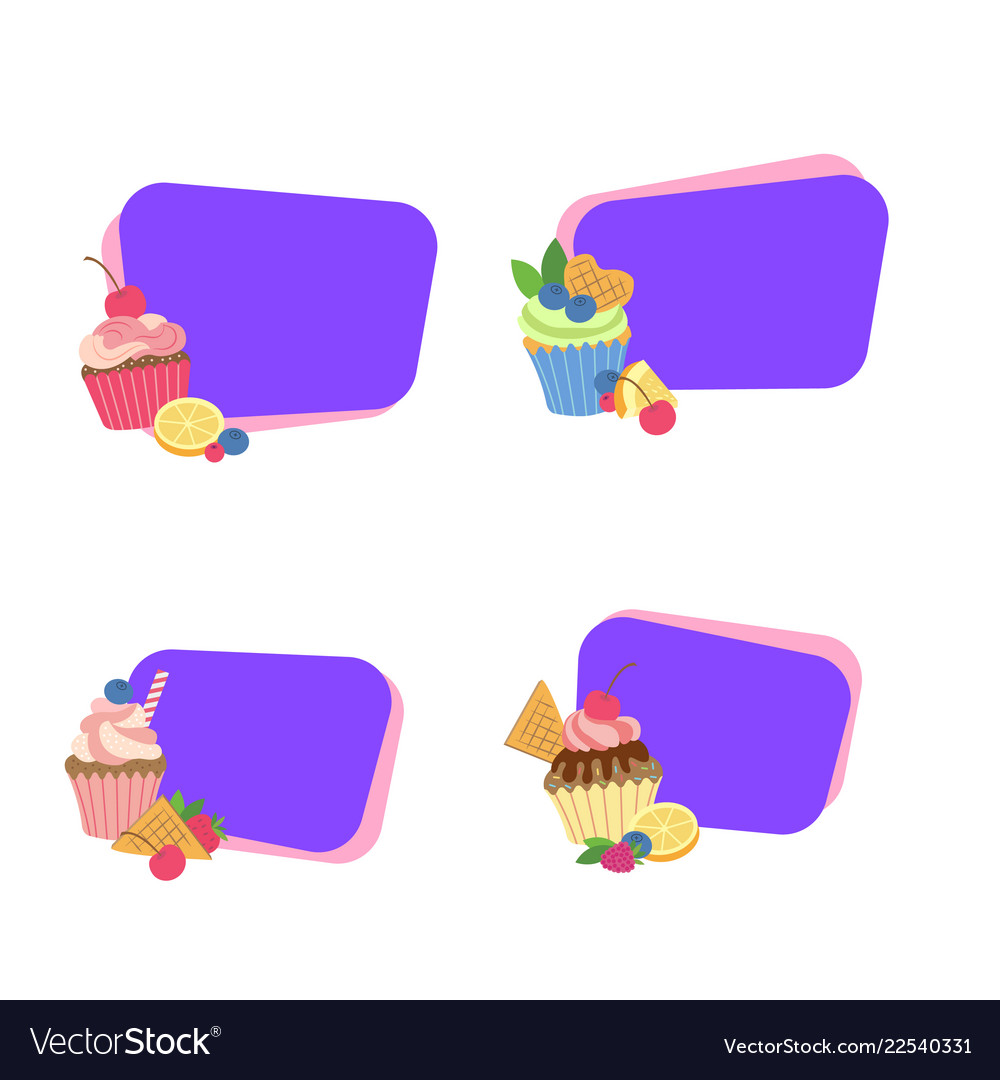 Cute cartoon muffins or cupcakes stickers
