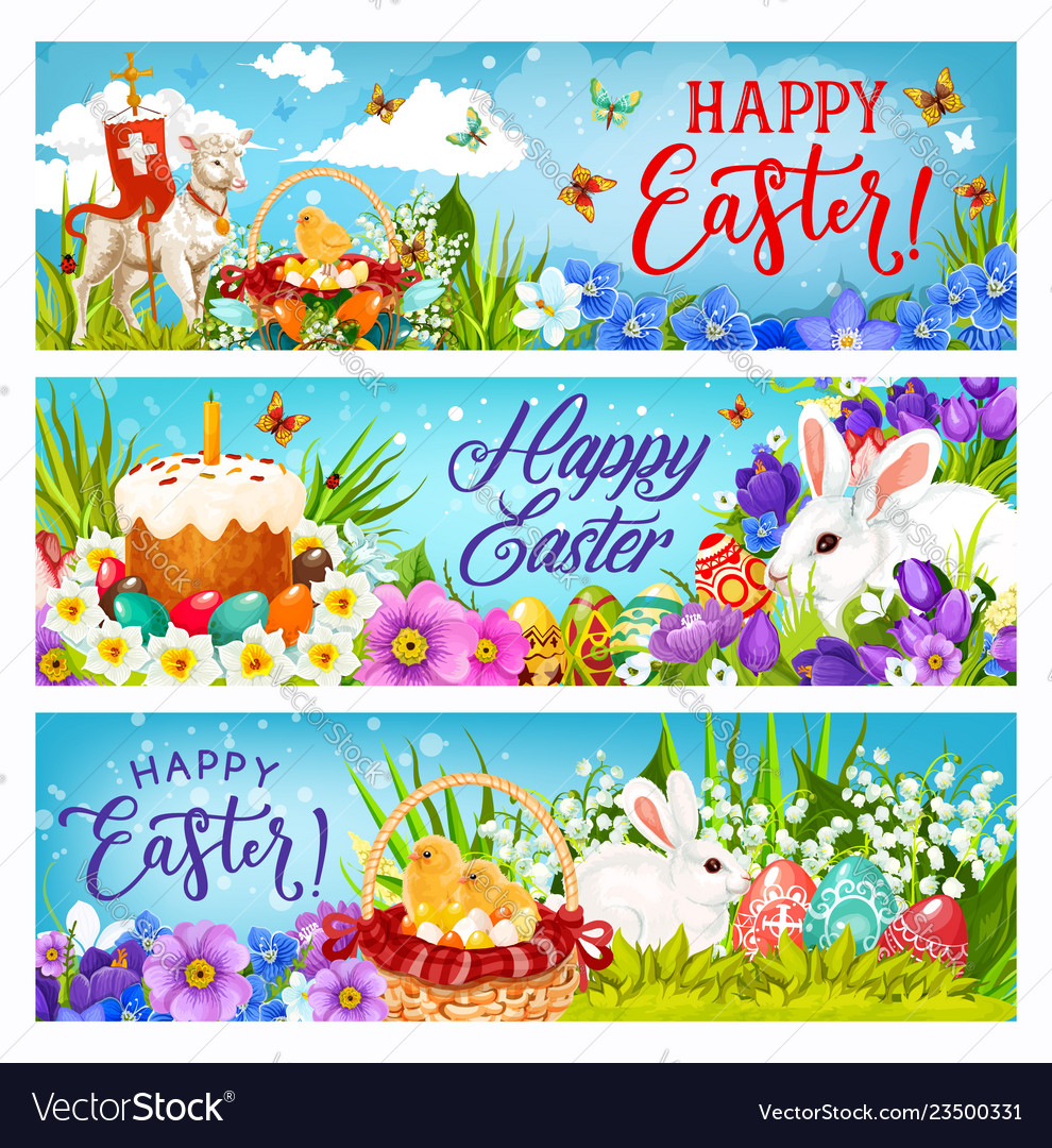 Easter bunnies with eggs flowers and chicks