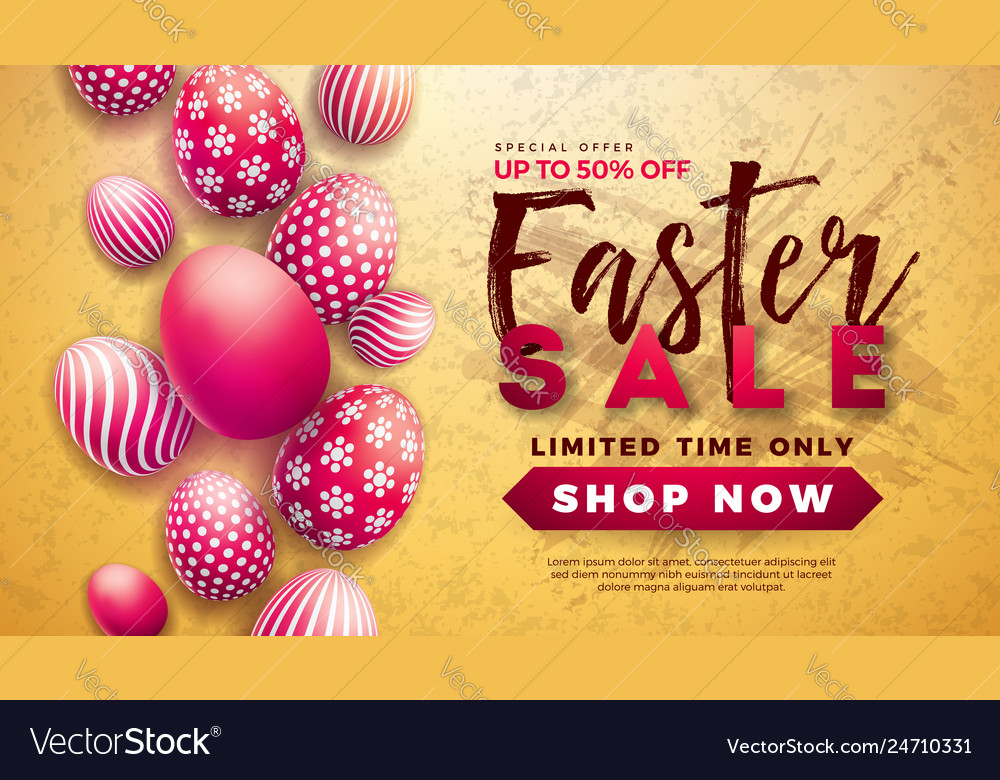 Easter sale with red painted egg on
