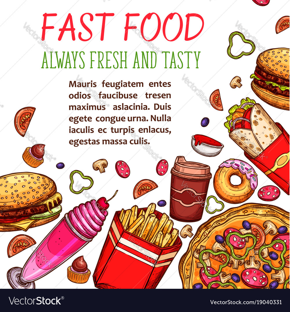 Fast food restaurant snack and drink menu poster