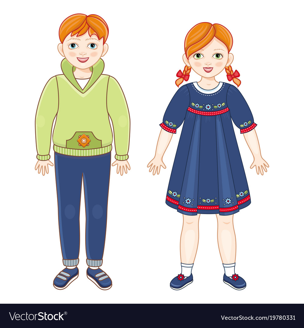 Flat redhead boy and girl kids smiling