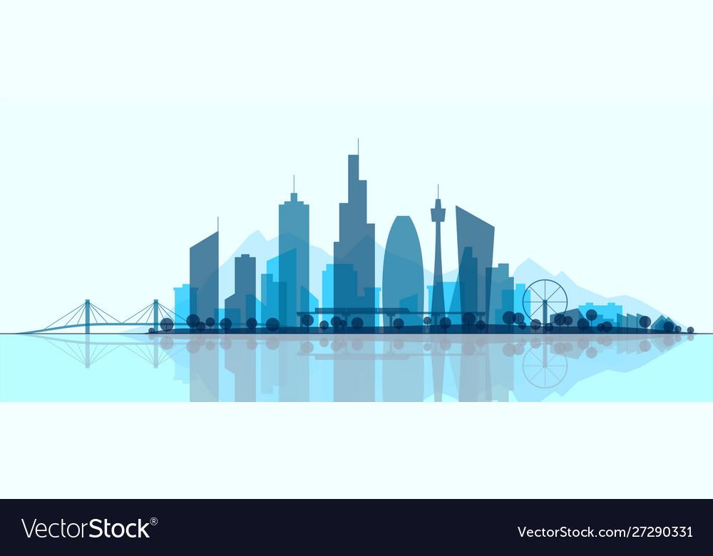 Futuristic cityscape silhouette