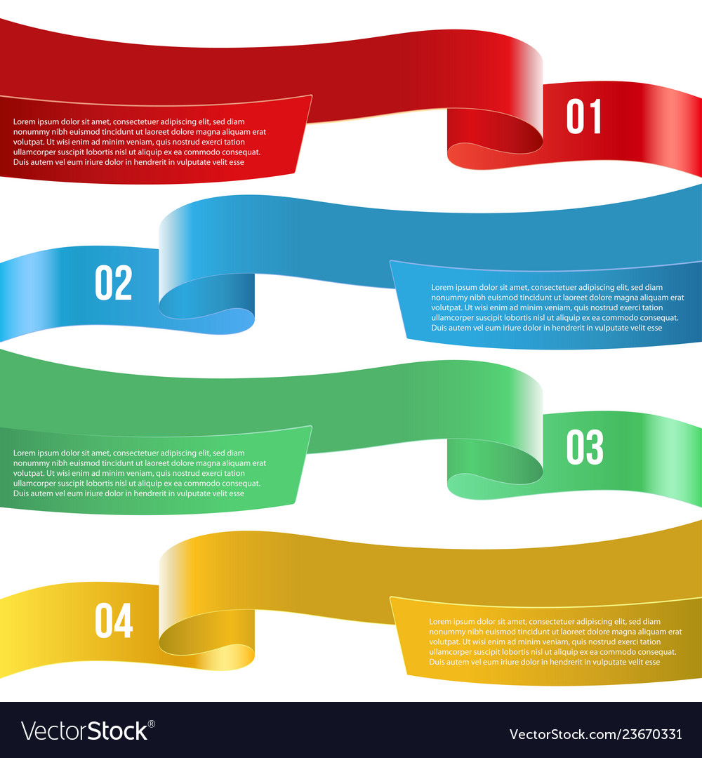 Infographic ribbon banners of diferent color on