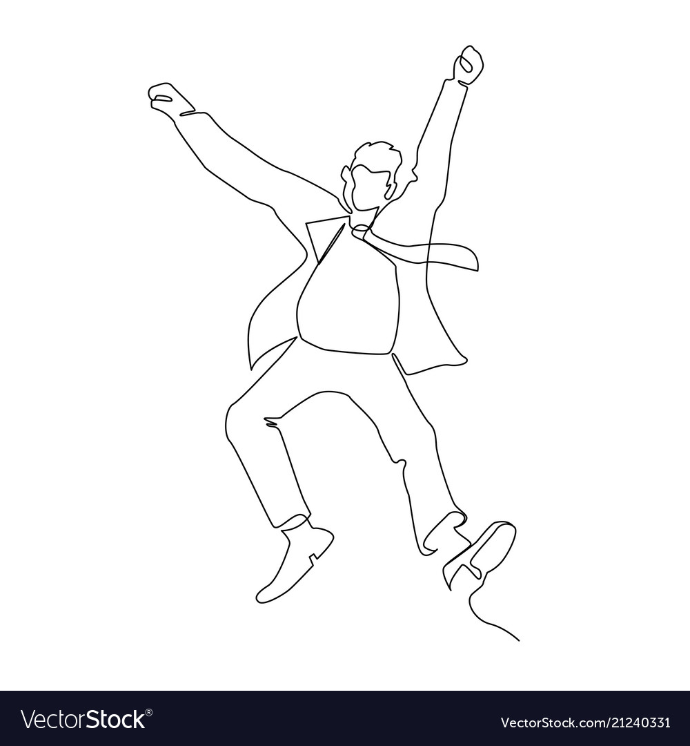 Jumping businessman continuous line art