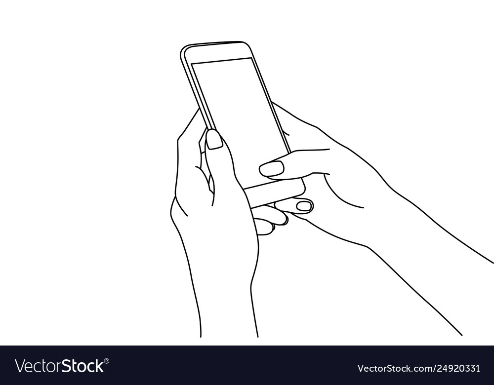 Line drawing hands texting in a smartphone