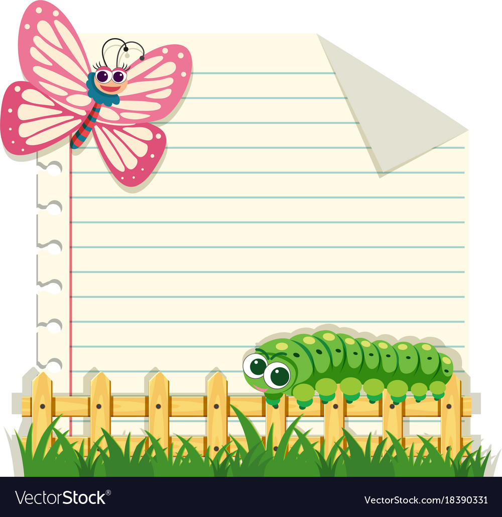 line paper template with butterfly and caterpillar
