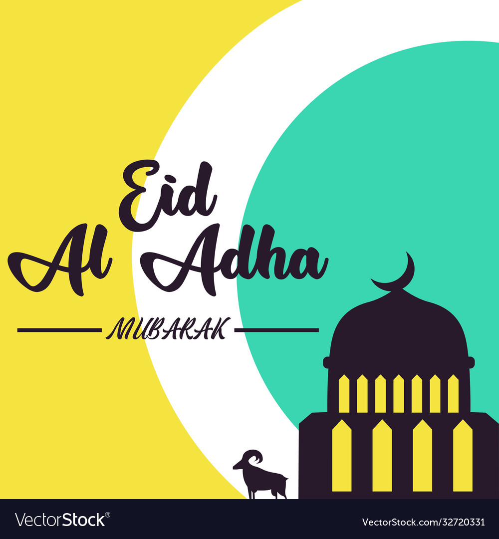 Mosque with goat eid al adha background