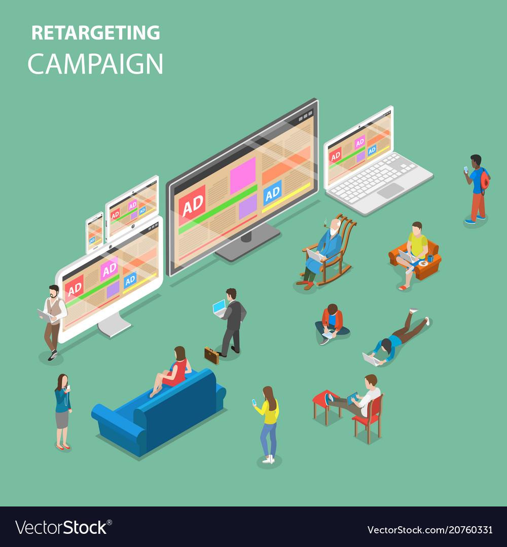 Retargeting campaign flat isometric concept