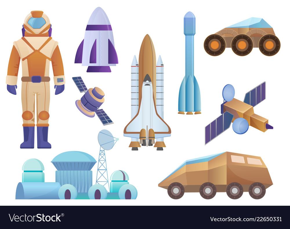 Spacecrafts colony building rocket cosmonaut in
