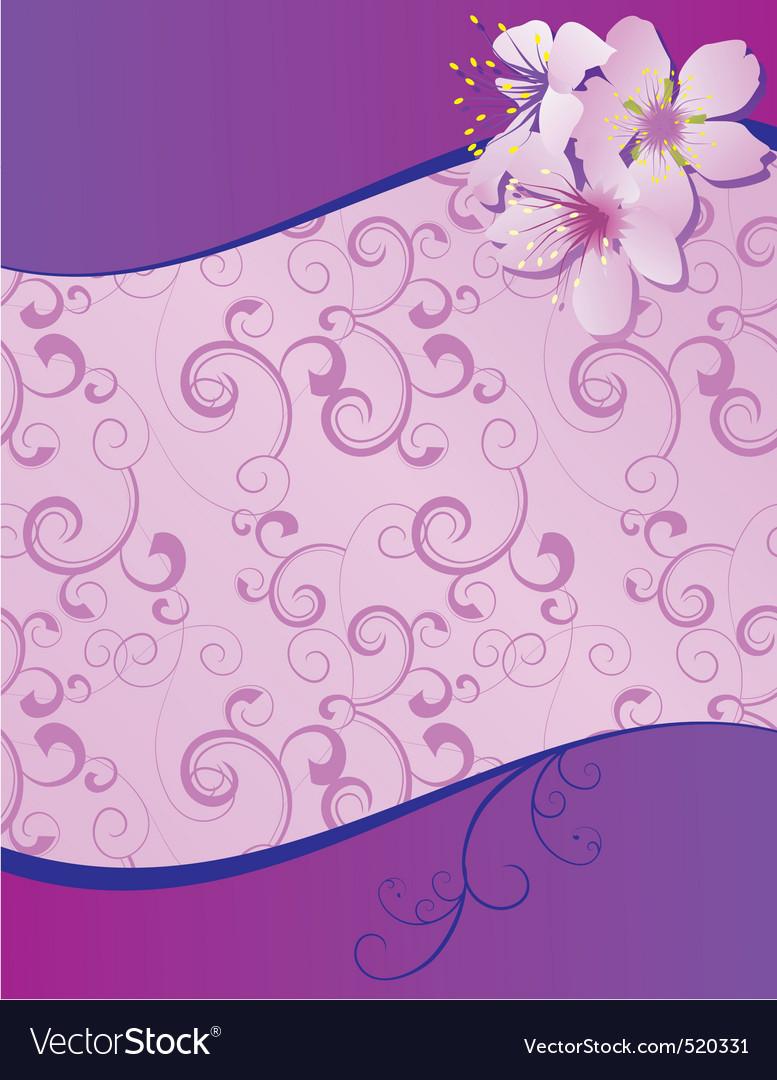 Violet flowers wave blank