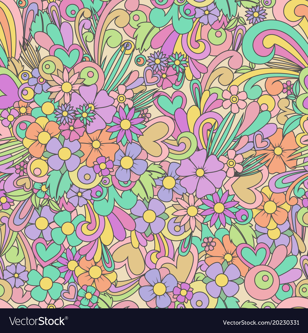 Wallpaper With Zentangle Flowers And Hearts Vector Image