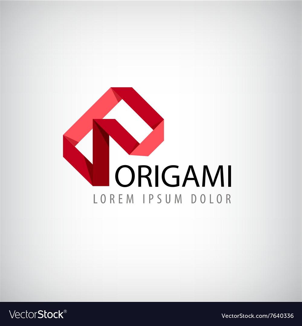 Abstract red logo origamilogo ribbon