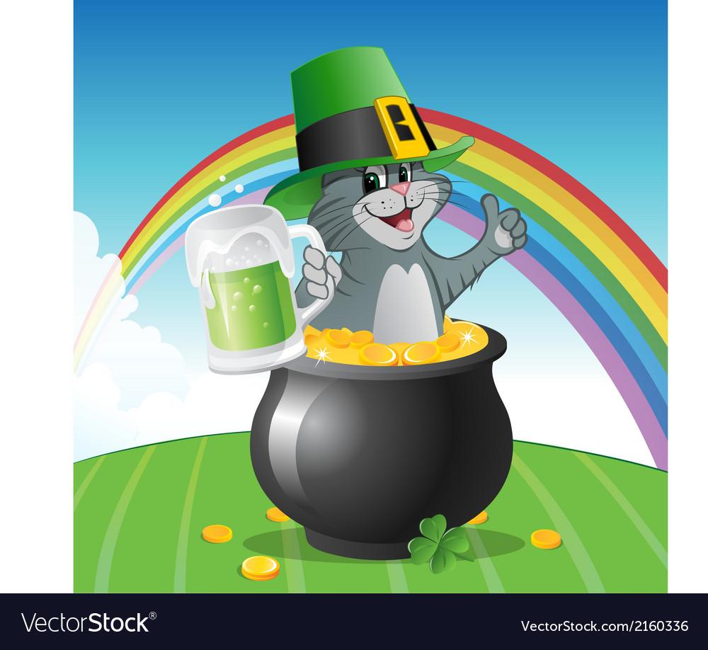 Cat St Patricks Day vector image