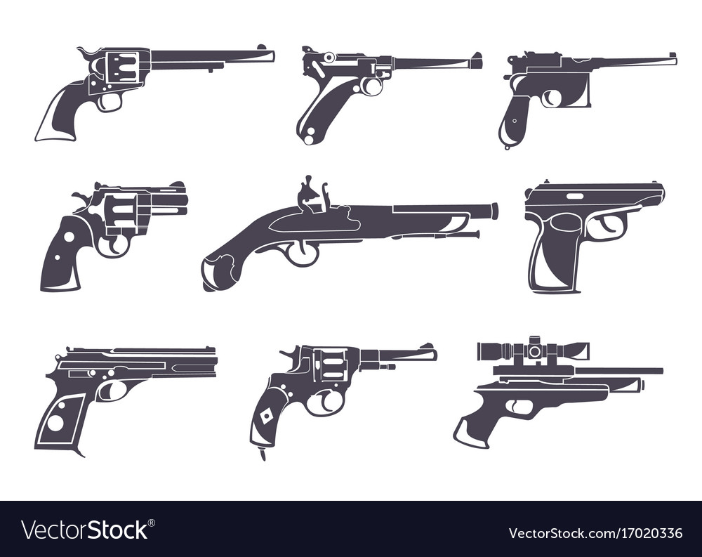 firearm set guns pistols revolvers flat design vector image
