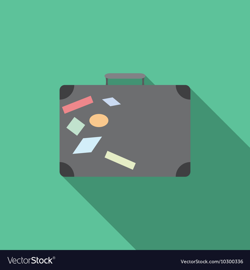 Flat design modern of traveling bag icon with long