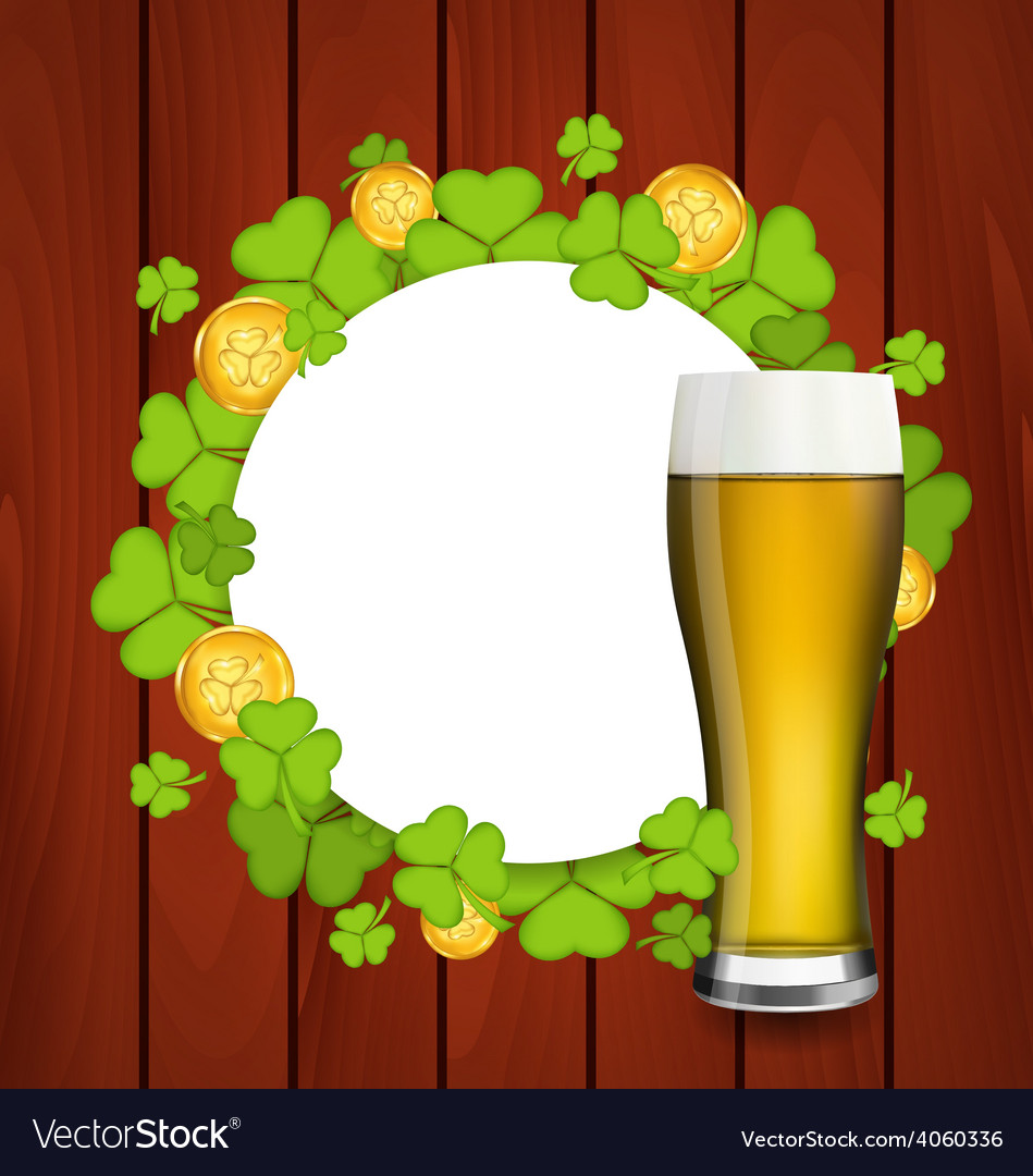 Greeting card with glass of light beer shamrocks