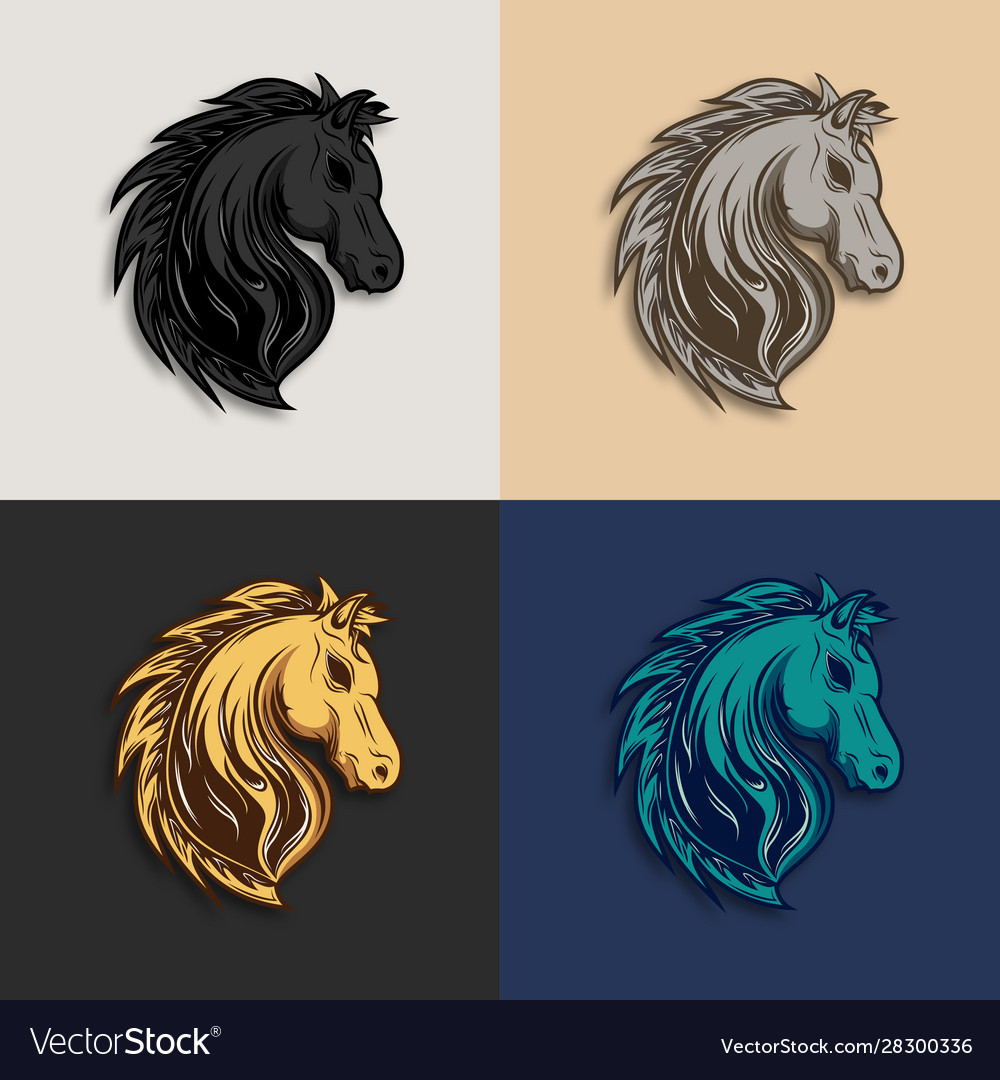 Horse head logo design with different color