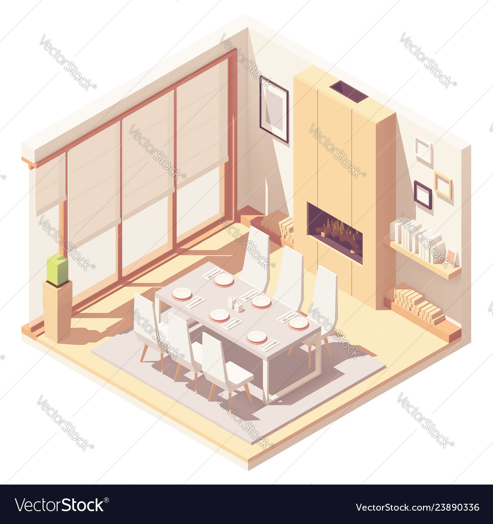 Isometric dining room interior