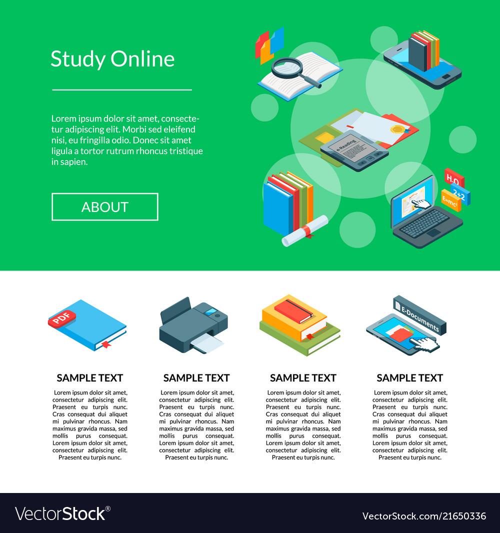 Isometric online education icons landing