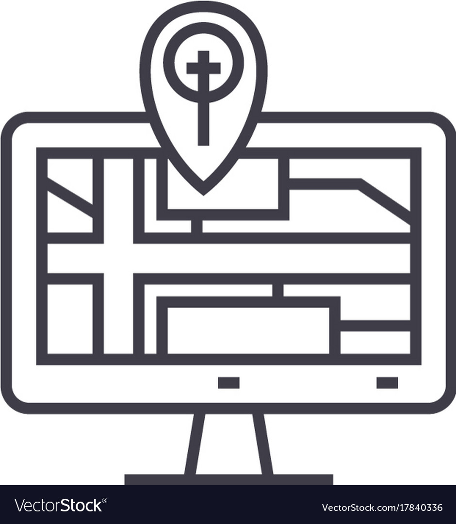 Navigation monitor with map line icon sign