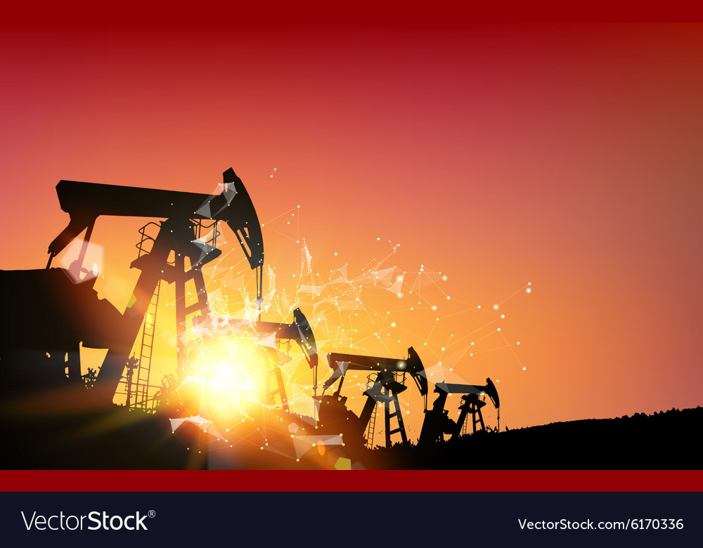 Oil field over sunset