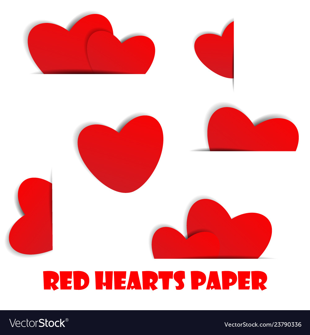 Red hearts paper on white background