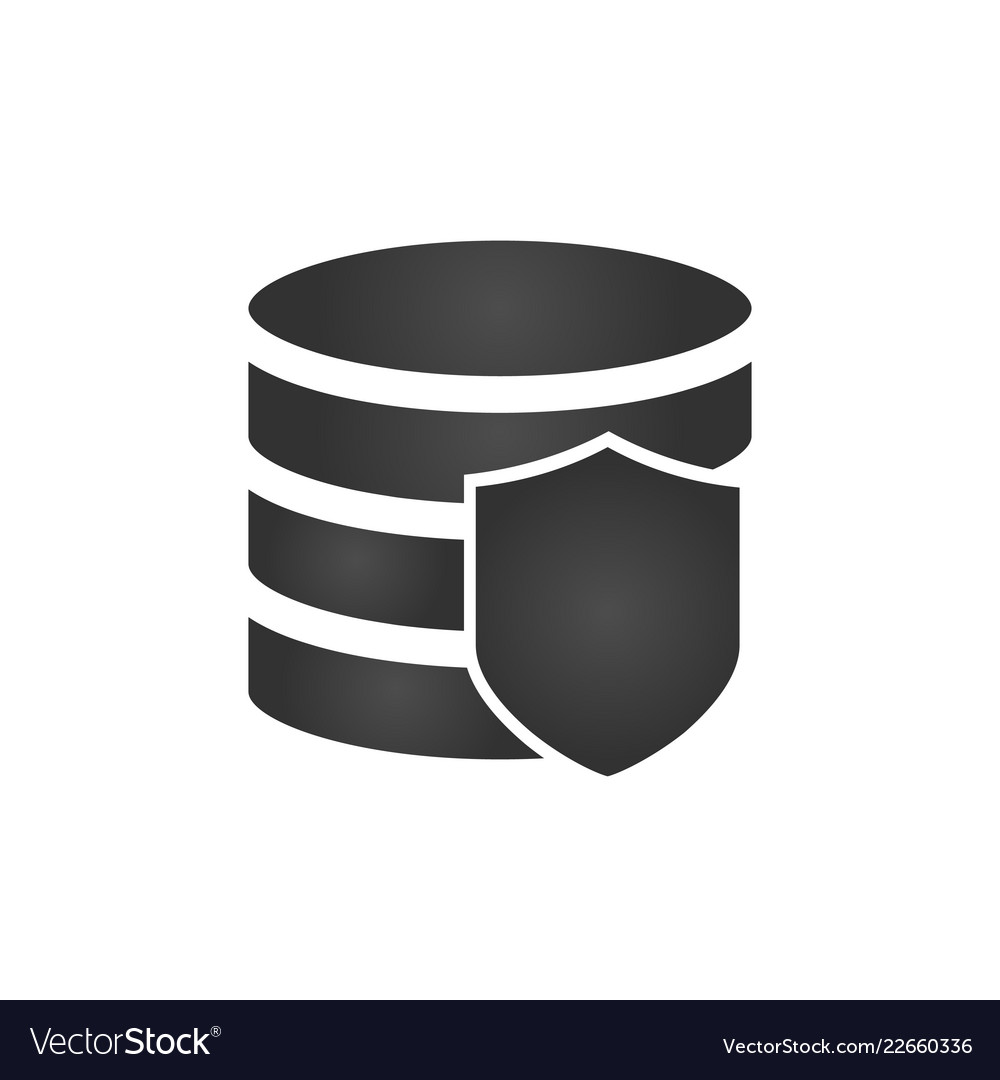 Security shield and database icon on white