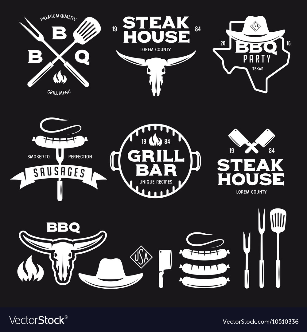 Set of barbecue steak house grill bar labels