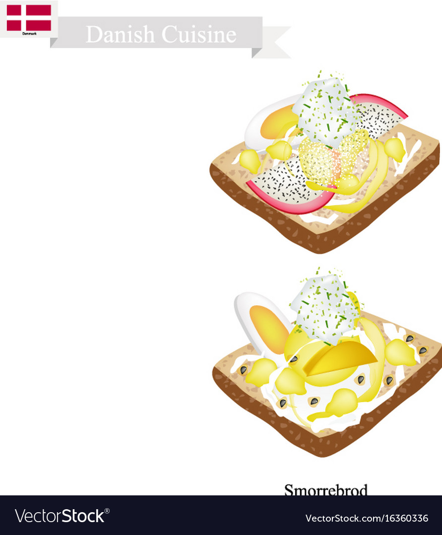 Smorrebrod with boil egg the national dish of den vector image