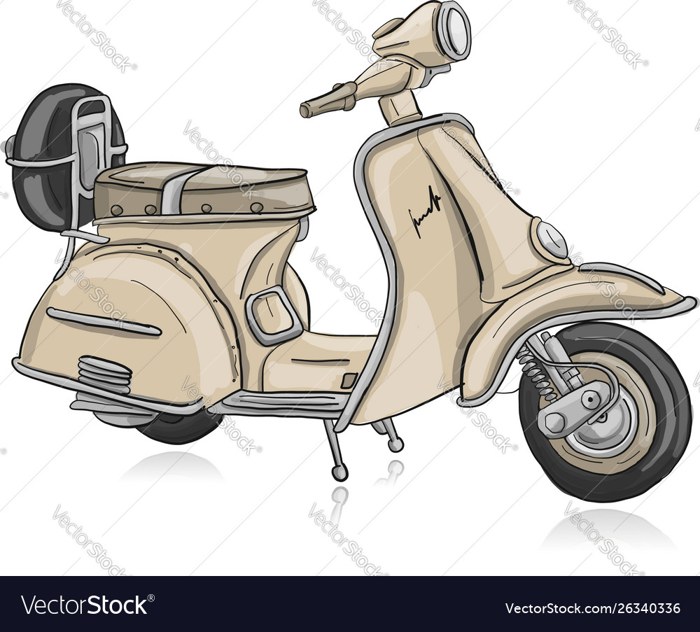 Vintage Scooter Sketch For Your Design Royalty Free Vector