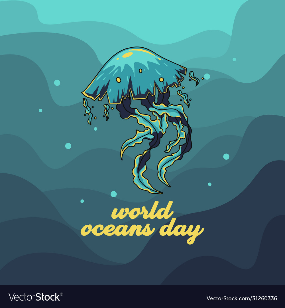 World oceans day with jellyfish for celebration