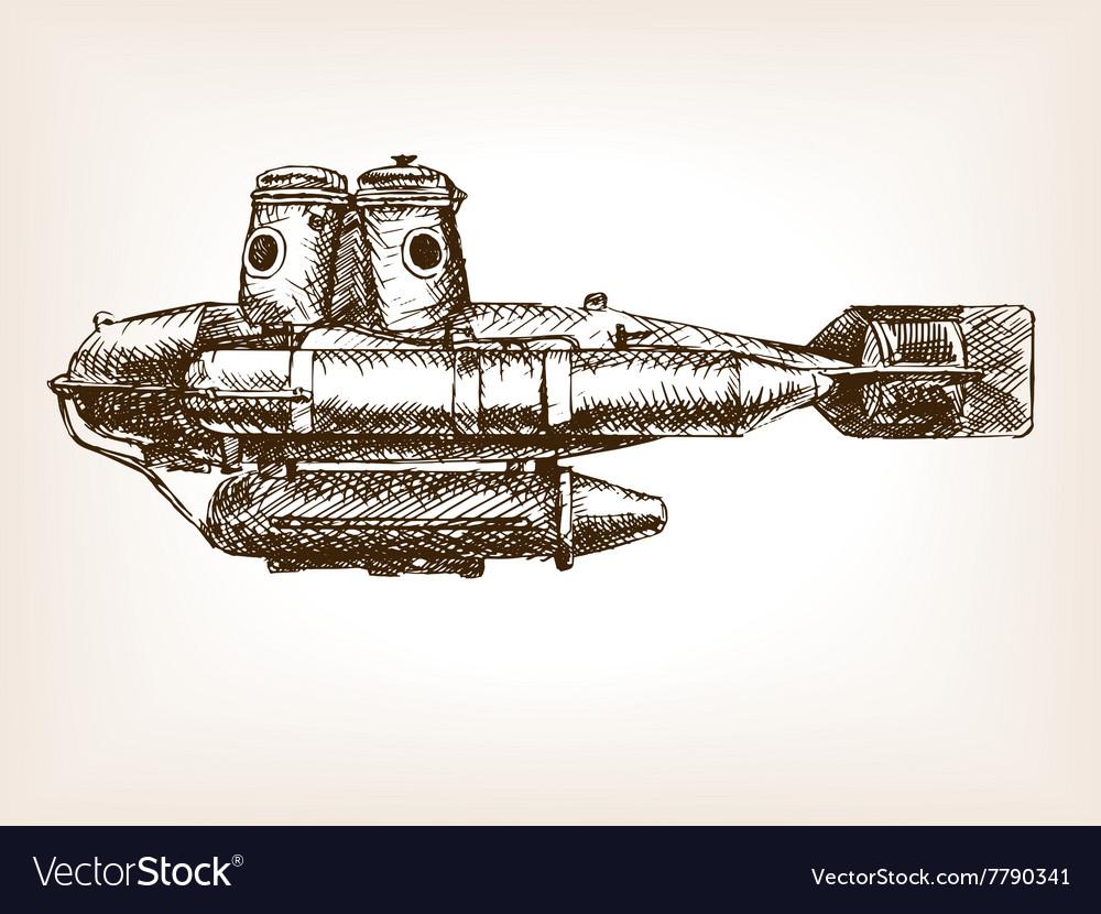 Antique submarine hand drawn sketch vector image