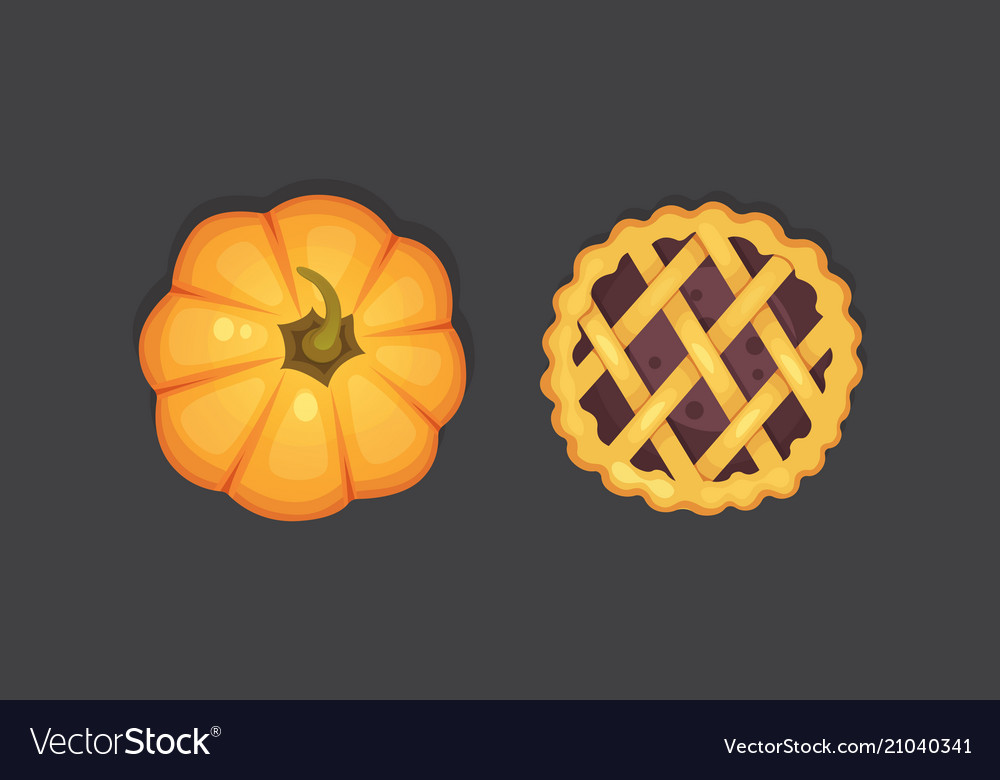 Berry and pumpkin pie icon isolated