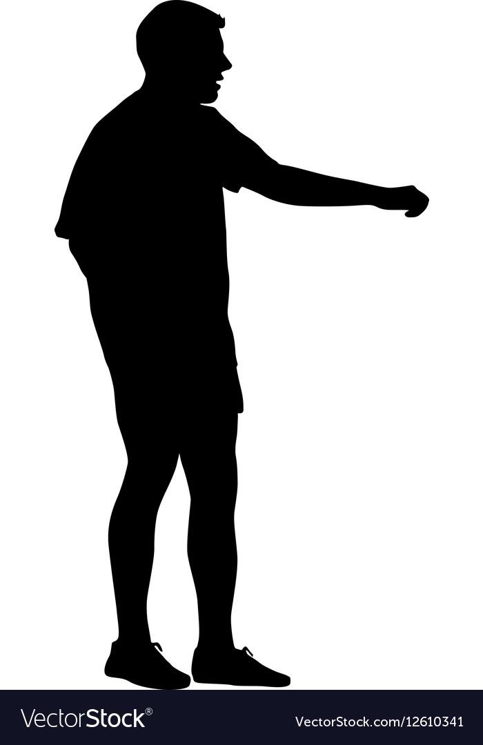 Black silhouettes man on white background