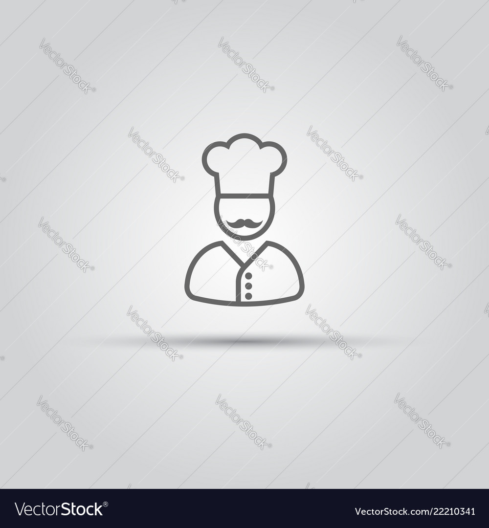Chef with mustache isolated line icon