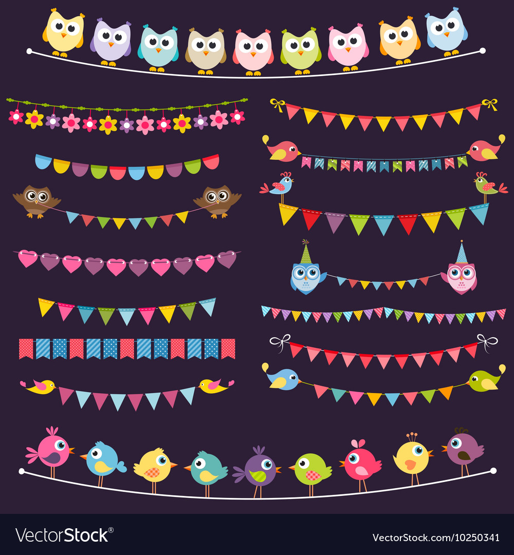 Colorful flags and garlands set with birds